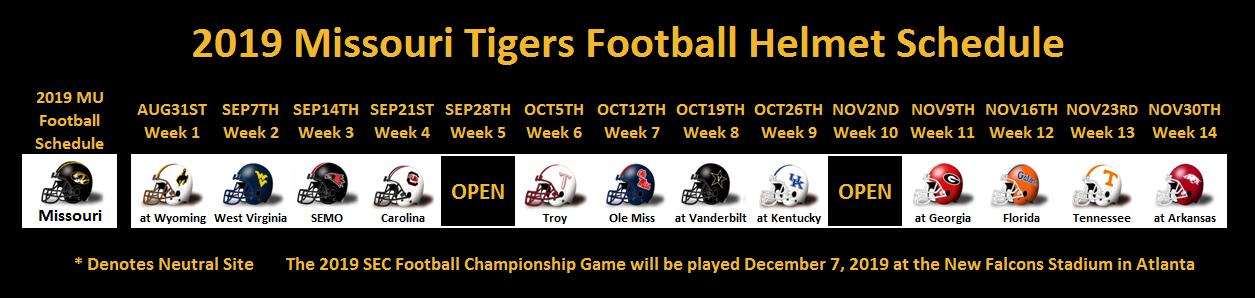 2019 Missouri Football Helmet Schedule